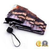 Hand Open Landcape de Paraplu van 3 Vouwen, Paraplu Van uitstekende kwaliteit van de Gift van de Legering van het Aluminium de anti-Uv
