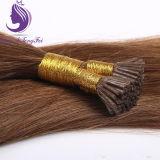 브라운 색깔 Remy 중간 전 접착된 각질 나는 머리 연장을 기울인다