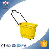 Paniers en plastique de chariot à traitement de panier à provisions de mémoire du marché