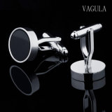 VAGULA redondo de color negro Ágata Cuff Links 10122