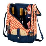 Le sac de refroidisseur de pique-nique de polyester de vin et du fromage 600d a placé pour 2