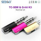 최신 디자인 Seego는 조정가능한 기류를 가진 K3 Vape 상자를 Tc 50W+G 명중했다