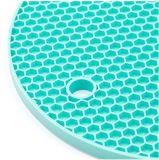 Petit couvre-tapis de place de caboteur de couvre-tapis de cuvette de Placemat de support de bac de nid d'abeilles de silicones cyan