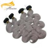 100 extensions grises de cheveu d'Ombre d'onde de corps de cheveux humains