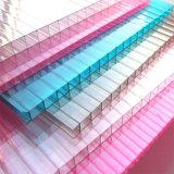 Placa gêmea transparente do PC do policarbonato da parede com revestimento UV