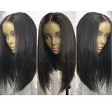 Dlme Form-natürliche schwarze gerade synthetische Haar-Perücke
