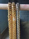 Joyería de cadena de cadena cubana del collar del diamante del oro de Hip Hop del laminado de PVD para los hombres