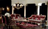 La madera sólida Sb25 laqueó el sofá real clásico tallado mano de la tela del color oscuro