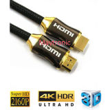 Cable de nylon del shell 1.4/2.0 4K/2160p HDMI del metal del tejido de la alta calidad