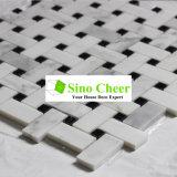 Mosaico bianco naturale Polished Basketweave di Carrara