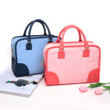 Couro contrastante casual bolsa de mochila feminina (MBNO043016)