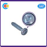 DIN/ANSI/BS/JIS Carbon-Steel/Stainless-Steel Plum Blossom Flat-Tail cabeza tocando el tornillo para la construcción de ferrocarriles/