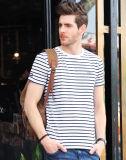 Usine confortable de T-shirt d'homme de coton blanc noir de piste