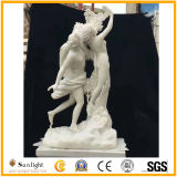 Statue de marbre blanche, sculpture de marbre, sculpture en pierre en jardin