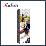 Bolso barato solo impreso raya de encargo de la botella de papel del vino rojo