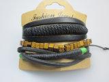 Trenza de poliéster de cuero cuerda del sistema de la pulsera para la joyería hombre Accesorio de Moda