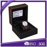 Caixa de relógio de couro do plutônio do preto feito sob encomenda inteiro luxuoso do jogo para o empacotamento do relógio de Mens