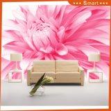 De roze Moderne Stijl van het Behang van het Ontwerp van de Bloem voor het Schilderen van de Decoratie van het Huis