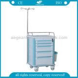 AG-It004A1 con la carretilla plástica económica del cajón del hospital de cinco cajones