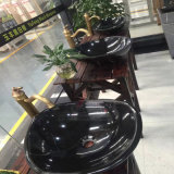 Круглые Nero Marquina черные мраморный/скачками тазики и раковины