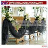 Decorazione di cerimonia nuziale di Tulle 65yd del nero del rifornimento del partito (W1016)