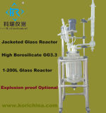5L ballon à réaction de laboratoire avec isolant chemisé pour réacteur de pyrolyse de verre
