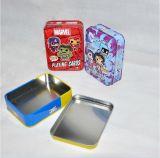 Коробка олова изготовленный на заказ карточки игры упаковывая с прикрепленной на петлях крышкой