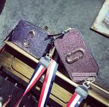 Sac de toilette violet à la mode sac à main Lady Sequins petite taille avec bracelet à rayures coloré Sy8156