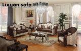 Sofá americano da tela com o frame de madeira & a tabela clássica ajustados para a mobília Home