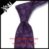 Os Mens vendem por atacado laços roxos de seda tecidos costume de 100%