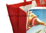 Sacchetto di Tote non tessuto di colore rosso con stampa personalizzata
