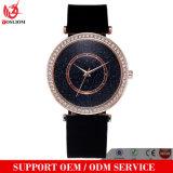 Relógio Non-Toxic de quartzo do vestido das mulheres da faixa do silicone do projeto de pedra de cristal novo da face da forma das senhoras Vs-123