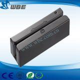 Pistas triples mini manual y bidireccional USB Lector de tarjetas magnéticas