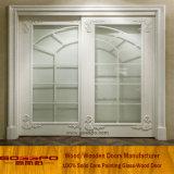 Porte en verre de glissement en bois de bâti de peinture blanche (GSP3-031)