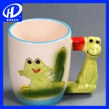 Peinture peinte à la main en 3D à la grenouille animale Tasse à manches Mug Tasse à café en céramique au thé au lait