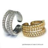 925 zilveren Ingelegde Ring met Kleine 3A Wit CZ voor Vrouwen (R10680)
