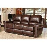 ホームシアターの上穀物の革が付いている手動Nailheadのトリムの横たわるソファー
