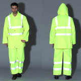 Segurança High Visibility Reflexivo Raincoat Traffic Vestuário Workwear Uniform