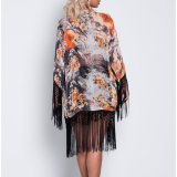 Moda Mujer Ocio Casual borlas impreso Cape Dress