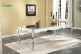 居間の中心の完全長いダイニングテーブル