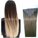 毛Extenionsクリップの純粋なRemyの人間の毛髪の拡張