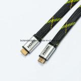 Flaches HDMI Kabel des Metallverbinder-mit Flechte