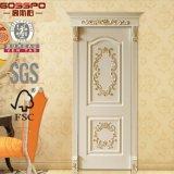 Décorations de portes en bois extérieures en façade blanche à la main (GSP2-079)