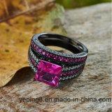 Placage noir Fashion 925 Engagement rose bague argent- Set57