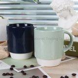 Cores de alta qualidade cerâmica vidrada caneca de café com pedestal branco