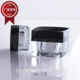 5g 10gの二重壁の平らなアクリルのクリームは小型瓶を震動させる