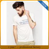 T-shirts ronds de coton de collet de Mens blanc fait sur commande de prix usine