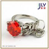 La plata al por mayor de la aleación que platea alrededor de Zircon empiedra el anillo de dedo de la joyería de la manera