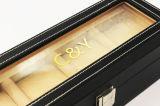 Caixa de relógio preta de Leather&Plastic do vintage