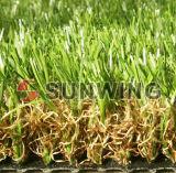 يرتّب وحديقة عشب لأنّ عشب اصطناعيّة